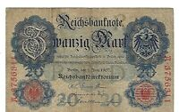 1907 Germany 20 Mark Banknote German Empire Reichsbanknote Paper Money Currency