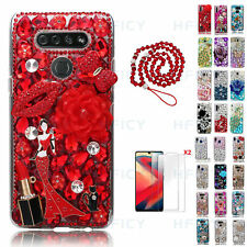 Women Bling Diamonds Red Sexy Lip Girl Cat Phone Cover Cases With Crystals Strap