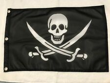 "12x18"" Jolly Roger Pirate Skull Flag Super Polyester  MOTORCYCLE BOAT Grommet10"