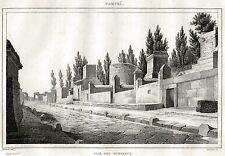 POMPEI: Strada delle Tombe. Regno delle Due Sicilie. ACCIAIO. Stampa Antica.1838