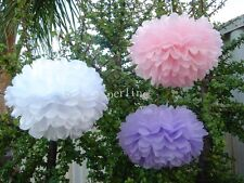 15x pink lilac white paper pom poms engagement wedding birthday party decoration