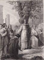 Gravure XIXe Saint Louis Rendant la Justice Chêne Louis IX Roi de France 1858