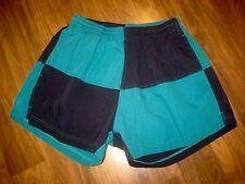 Vtg 80s WORKS Nautical Flag MEDIUM Colorblock chubbies Swim suit trunks shorts M