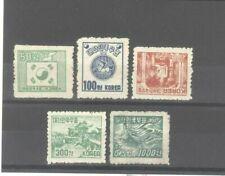 Korea 1952 50w-1000w Regular Issue Wavy Lines Watermark Mint No Gum Stamps