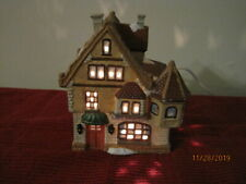 Christmas Porcelain Lighted House, Hand Painted, Our Town Collection