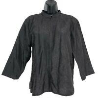Eileen Fisher Shirt Top 100% Silk Crinkle Brown Women's Size Medium
