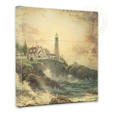 """Thomas Kinkade - Clearing Storm Map Collage - 14"""" x 14"""" Gallery Wrapped Canvas"""