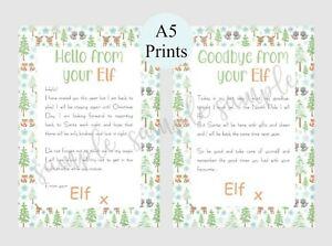 Christmas Elf Hello and Goodbye Letters Santa elf on shelf Tradition woodland