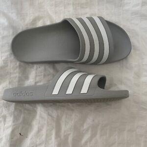 Grey White Striped Adidas Sliders Slippers Mens UK Size 8