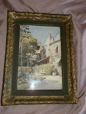 """Superbe Aquarelle """" Fontaine jardin Maison de ville """" - Cadre bois & stuc"""