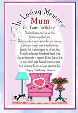 LARGE MUM BIRTHDAY MEMORIAL BEREAVEMENT GRAVESIDE  CARD & FREE HOLDER 4