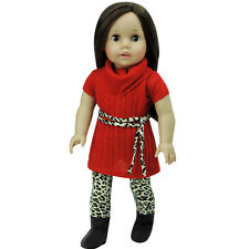 Red Sweater Dress, Animal Print Leggings & Tie Belt fits American Girl Dolls
