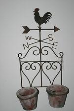 Pflanz Topf Wetterhahn Landhaus Shabby Wanddeko Garten Blumentopf Metall Keramik