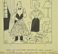 Original Sporting Cartoon Ink Drawing by JEFF KEATE Listed illustrator N.Y.