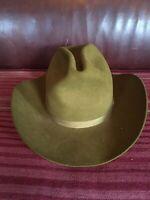 RESISTOL Cowboy Hat, 3X Beaver Vintage 1970s New Old Stock NOS Green 7 1/8