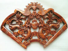 EXQUISITE HAND-CARVED A PAIR DRAGON STATUES CAMPHOR WOOD PLATE WALL SCULPTURE