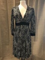 Maggie London Dress Black & White Abstract 3/4 Sleeves Comfort Stretch Size 14