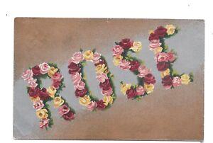 Vintage silverette greetings postcard Floral 'ROSE' pmk Malvern 1906