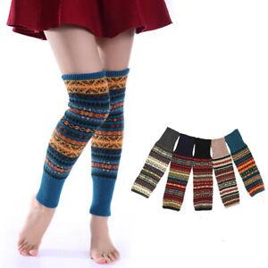 Knit Boot Warmer Socks Knee High Winter Crochet Leg Warmers Leggings Fair Isle