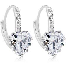 18K White GP Zircon Crystal Earrings Wedding Party Love Heart Dangle Earrings