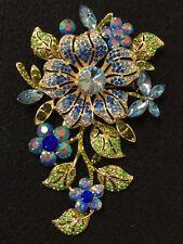 Big Rhinestone Gold Sapphire Flower Crystal Brooch Cake Pin Scarf Decoration #62