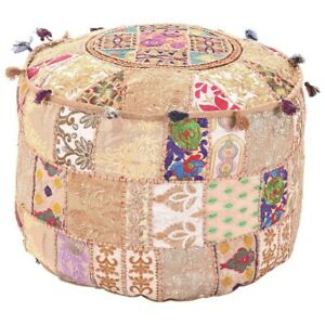 """Beige Ottoman Pouf Cover 18"""" Vintage Handmade Indian Patchwork Footstool Case"""