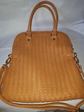 Neiman Marcus PU Leather Large Womens 2-way Crossbody Tote Handbag Tan