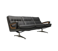 Dark Brown Leather Sofa by Carl Straub 60s Leder Braun 60er Germany