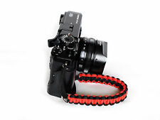 Red/Black Paracord Wrist Strap for DSLR Compact Mirrorless etc Sony Fuji Samsung