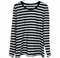 Country Road Womens Navy/White Striped Long Sleeve Blouse Shirt Size XL