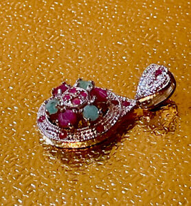 New Real Ruby-Emerald With Sterling Silver Rhodium Plated Pendant