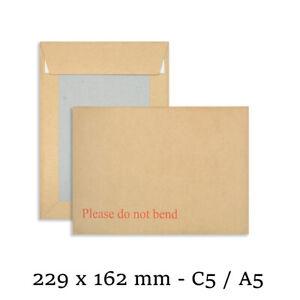 "125 A5/C5 Hard Board Backed Envelopes Peel & Seal ""Please Do Not Bend"" 229 x 162"