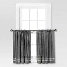 "Threshold Light-Filtering Cafe Curtain Set Gray/Cream Stripe 42"" x 36"" Set"