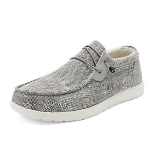 Mens Lightweight Slip On Loafer Walking Casual Sneakers Canvas Shoes Size Grey