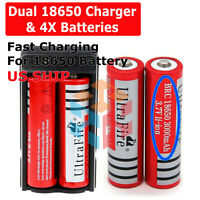 4Pcs 18650 Battery 3000mAh 3.7v Li-ion Rechargeable Batteries + Dual Charger USA