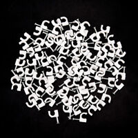 100pcs RG59 Coax Cat5 Cat6 Cable Wire Clips Nail Clamps Straps Tacks White 6 Gw
