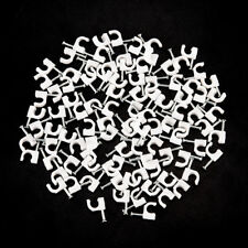 100pcs RG59 Coax Cat5 Cat6 Cable  Clips Nail Clamps Straps Tacks White 6mm FLHN