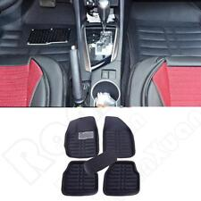 US Leather 5pcs Car Floor Mats Front+Rear Black All Weather Interior Mat Carpet