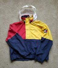 Vtg 90s Tommy Hilfiger Big Flag Blue Red Sailing Gear Color Block Jacket XL