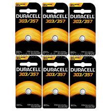 6 x 303/357 Duracell Silver Oxide Batteries (AG13, SB-A9, SR1154, SR44SW, WS14)