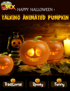 Halloween Flash Talking Singing Animated LED Pumpkin Toy Projection Lamp Project