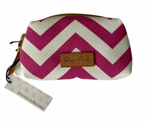 NEW Dooney & Bourke Pink and White Chevron Wristlet Coin Purse Bag Wallet NWT