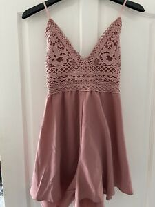 Pink Mauve Bow Strappy Playsuit Size S