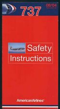 AMERICAN Airlines Boeing B 737 Airline SAFETY CARD air brochure ee e583