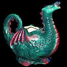 Clay Art Enchantment San Francisco 1990 Teal Whimsical Gothic Dragon Pitcher Jug