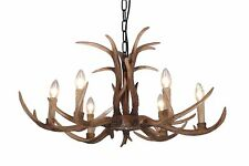 Realistic Deer Antler Vintage Style Resin 6 Lt European Distressed Chandelier