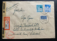 1948 Essen Germany AMG Censored Registered Cover To Linz Tax Stamp Notopfer