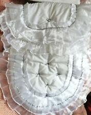 Celtic Nursery Designs Pure white dobby spot white/Grey Pram set.