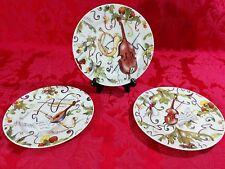 Set of 3 I. Godinger 1855 Email de Limoges Sonata Dessert Plates - Instruments