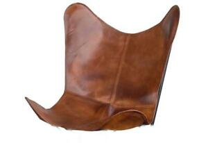 Rustic Handmade Vintage Leather Butterfly Chair Relax Armchair Only Cover
